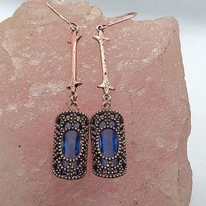 Rose gold and blue crystal earrings